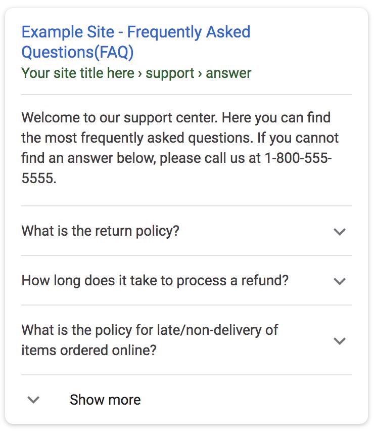 FAQ rich result
